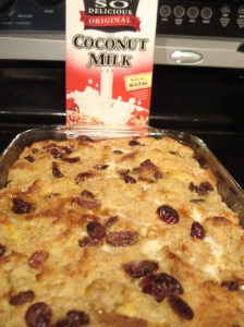cranberry coconut bread pudding