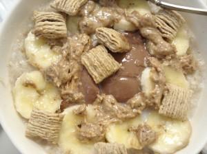 vanilla oats with chocolate yogurt